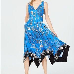 Vincent Camuto Floral Handkerchief-hem Dress